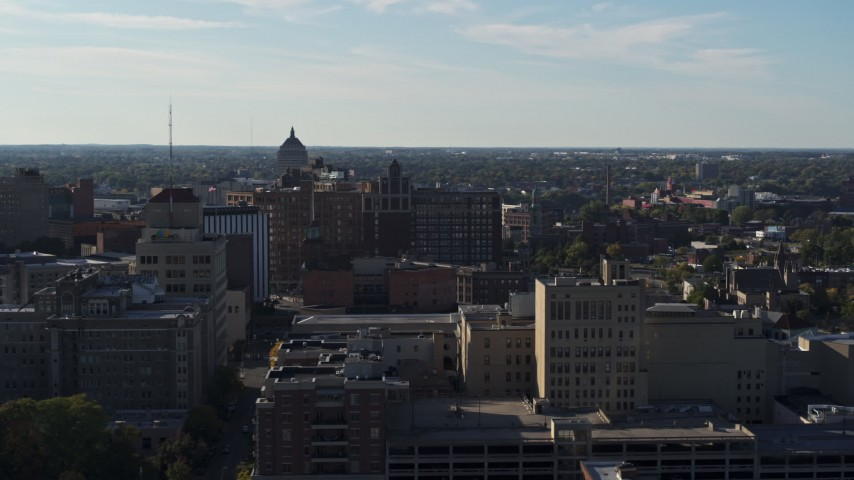 5.7K stock footage aerial video wide orbit of Temple Building in Downtown Rochester, New York Aerial Stock Footage | DX0002_208_038