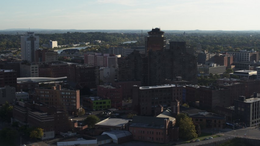 5.7K stock footage aerial video of flying by Andrews Terrace apartment building, Downtown Rochester, New York Aerial Stock Footage | DX0002_209_006
