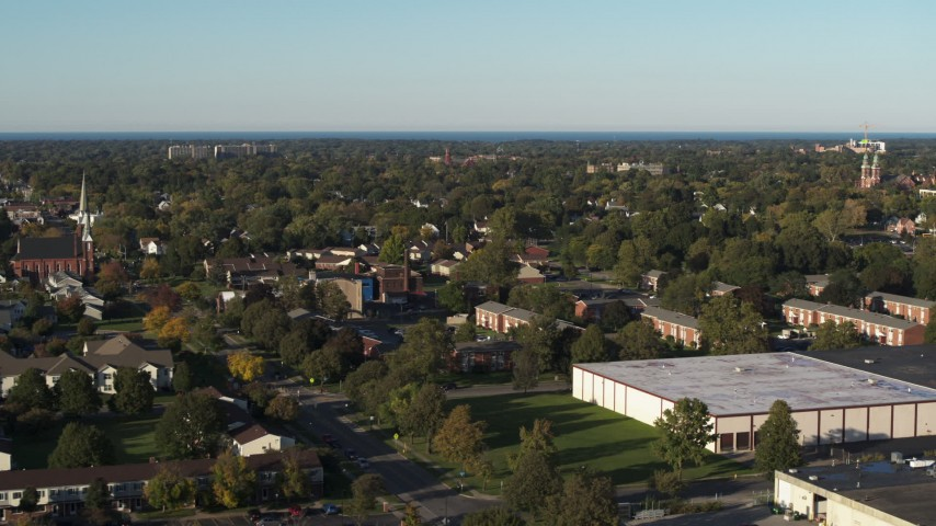 5.7K stock footage aerial video of a wide view of Rochester, New York from apartment and warehouse buildings Aerial Stock Footage | DX0002_209_007