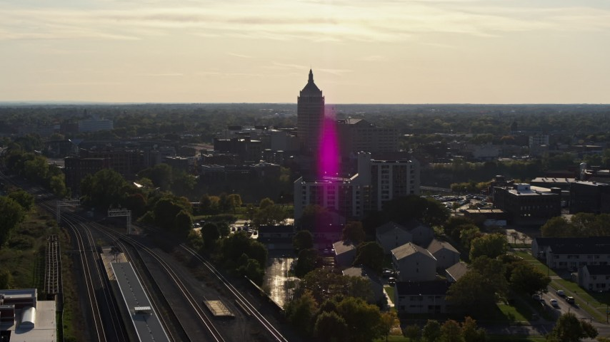 5.7K stock footage aerial video of approaching Kodak Tower in Rochester, New York Aerial Stock Footage | DX0002_209_013