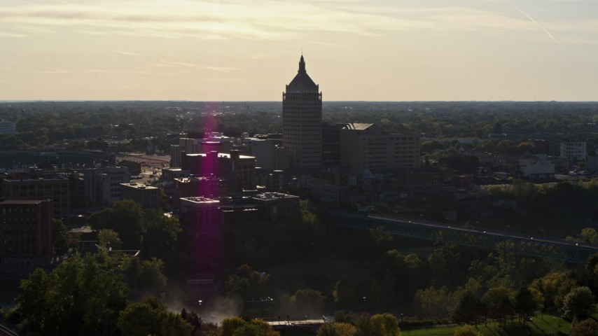 5.7K stock footage aerial video of flying toward Kodak Tower in Rochester, New York Aerial Stock Footage | DX0002_209_014