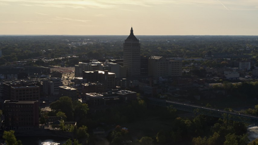 5.7K stock footage aerial video of ascending away from Kodak Tower in Rochester, New York Aerial Stock Footage | DX0002_209_015