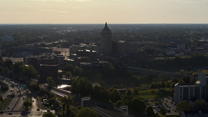 5.7K stock footage aerial video descend and orbit Kodak Tower in Rochester, New York Aerial Stock Footage | DX0002_209_016