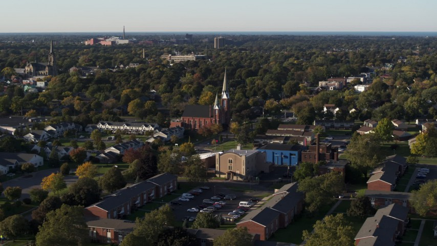 5.7K stock footage aerial video slow orbit of brick church in Rochester, New York Aerial Stock Footage   DX0002_209_018