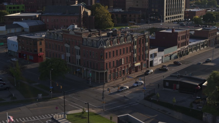 5.7K stock footage aerial video of a brick office building in Downtown Rochester, New York Aerial Stock Footage | DX0002_209_021