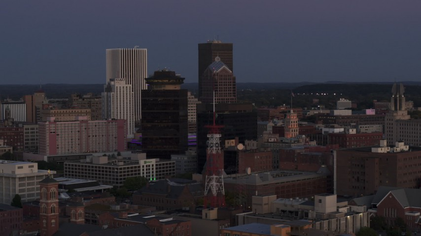 5.7K stock footage aerial video of First Federal Plaza, radio tower, and Legacy Tower at twilight, Downtown Rochester, New York Aerial Stock Footage | DX0002_210_006
