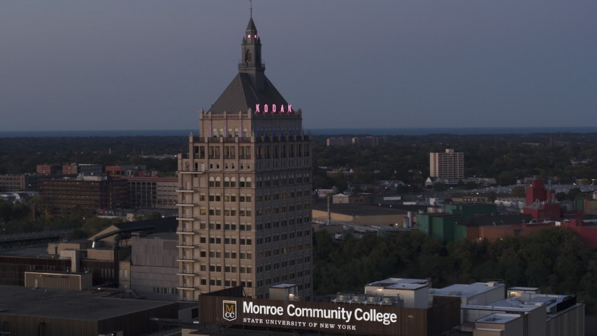 5.7K stock footage aerial video orbit top of Kodak Tower at twilight, Rochester, New York Aerial Stock Footage | DX0002_210_009
