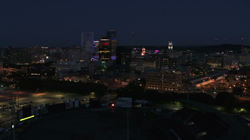 5.7K stock footage aerial video of a wide orbit of the city's skyline at night, Downtown Rochester, New York Aerial Stock Footage | DX0002_210_025