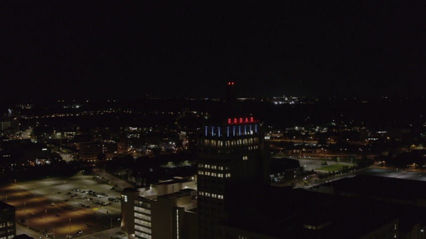 5.7K stock footage aerial video orbit around Kodak Tower at night, Rochester, New York Aerial Stock Footage | DX0002_210_052