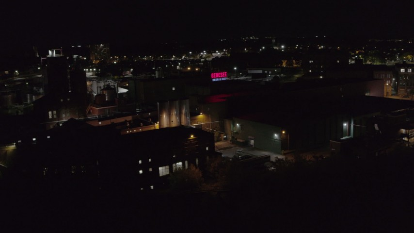 5.7K stock footage aerial video of an orbit of a brewery at night, Rochester, New York Aerial Stock Footage | DX0002_210_060