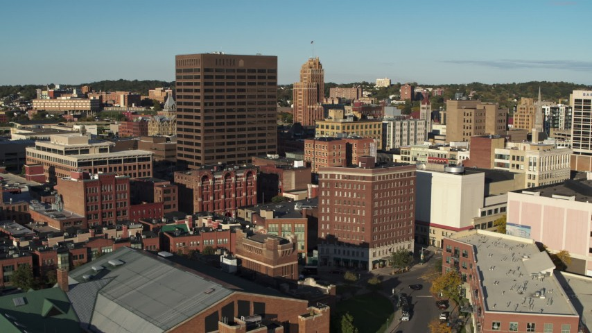 5.7K stock footage aerial video orbit Chase Tower and city buildings, Downtown Syracuse, New York Aerial Stock Footage | DX0002_213_043