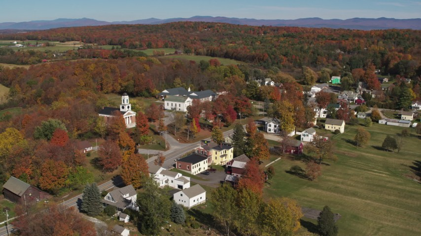 5.7K stock footage aerial video of orbiting a church in the small town of Orwell, Vermont Aerial Stock Footage | DX0002_217_001