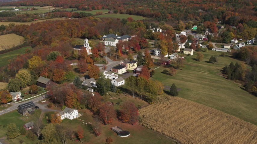 5.7K stock footage aerial video of an orbit of the small town of Orwell, Vermont Aerial Stock Footage | DX0002_217_008