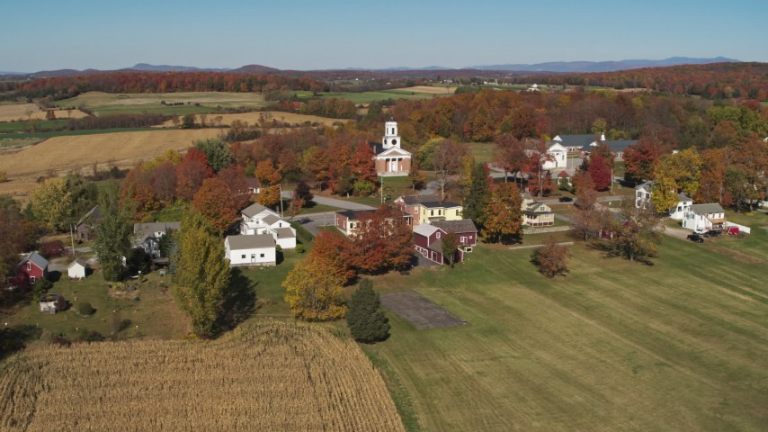 5.7K stock footage aerial video of a church in the small town of Orwell, Vermont Aerial Stock Footage | DX0002_217_015