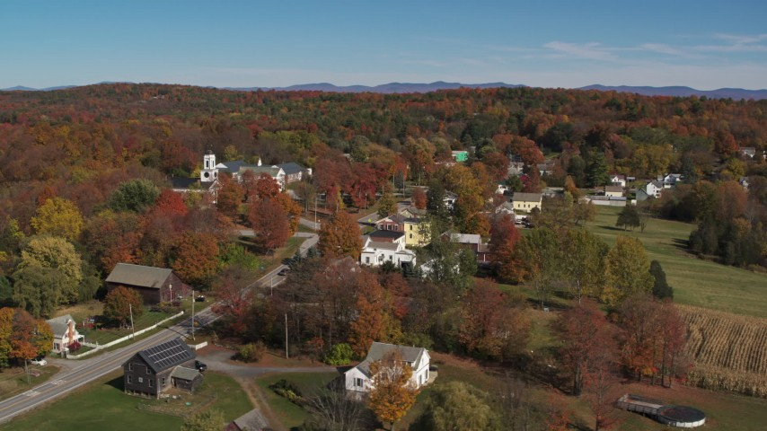 5.7K stock footage aerial video orbit around Main Street a small town in autumn, Orwell, Vermont Aerial Stock Footage | DX0002_217_016