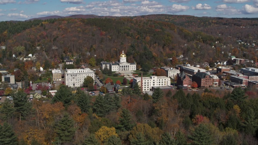 5.7K stock footage aerial video of approaching the state capitol building and downtown in Montpelier, Vermont Aerial Stock Footage | DX0002_218_001