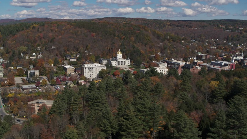 5.7K stock footage aerial video of orbiting the state capitol building and downtown in Montpelier, Vermont Aerial Stock Footage | DX0002_218_004