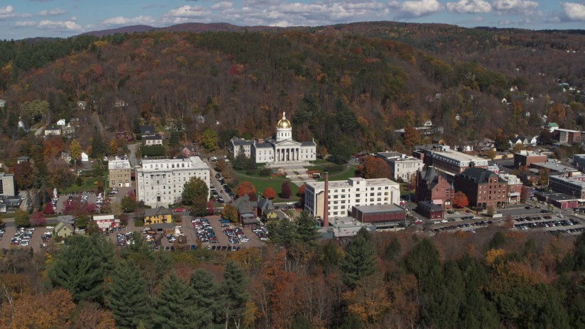 5.7K stock footage aerial video orbit and approach the state capitol building and downtown, Montpelier, Vermont Aerial Stock Footage | DX0002_218_005
