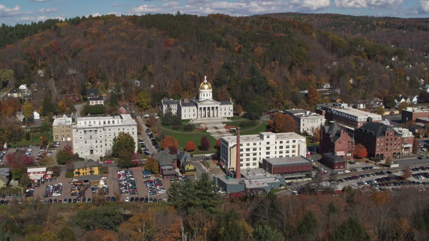 5.7K stock footage aerial video fly away from the state capitol building and downtown, Montpelier, Vermont Aerial Stock Footage | DX0002_218_006