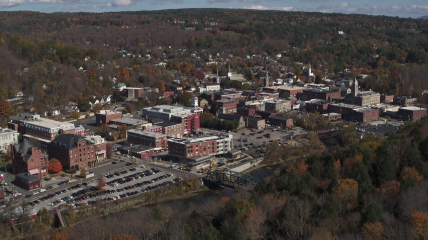 5.7K stock footage aerial video of approaching downtown area of the city, Montpelier, Vermont Aerial Stock Footage | DX0002_218_007