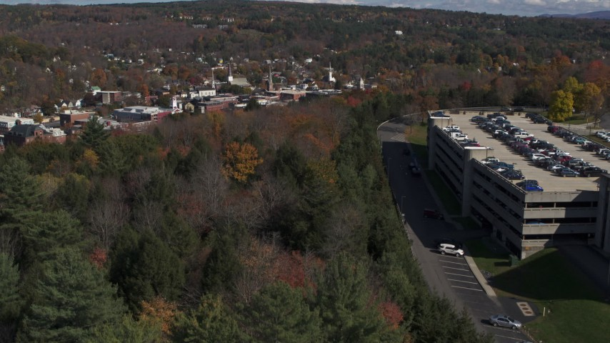 5.7K stock footage aerial video of downtown seen from a parking garage on a hill, Montpelier, Vermont Aerial Stock Footage | DX0002_218_010