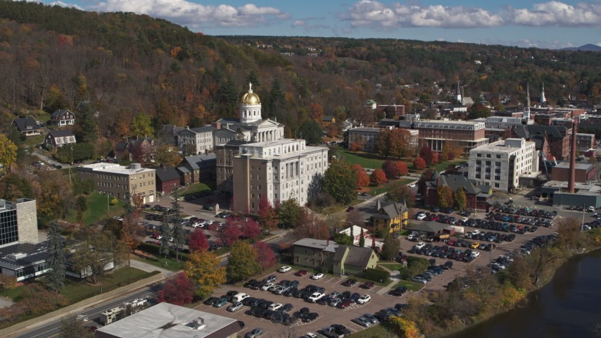 5.7K stock footage aerial video orbit government office and state capitol building, Montpelier, Vermont Aerial Stock Footage | DX0002_218_013