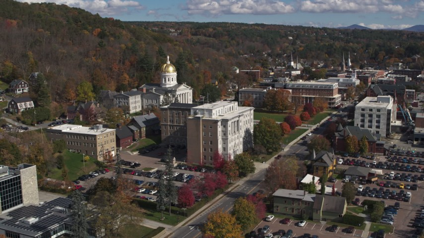 5.7K stock footage aerial video stationary view of government office and state capitol building, Montpelier, Vermont Aerial Stock Footage | DX0002_218_014