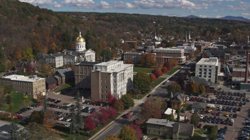 5.7K stock footage aerial video approach and fly away from government office and state capitol building, Montpelier, Vermont Aerial Stock Footage | DX0002_218_022