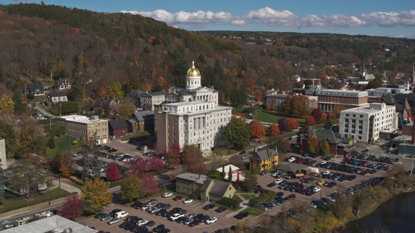 5.7K stock footage aerial video reverse view of government office building and state capitol building, Montpelier, Vermont Aerial Stock Footage | DX0002_218_024