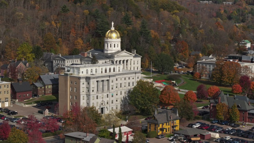 5.7K stock footage aerial video fly toward the state capitol dome behind a government office building, Montpelier, Vermont Aerial Stock Footage | DX0002_218_038
