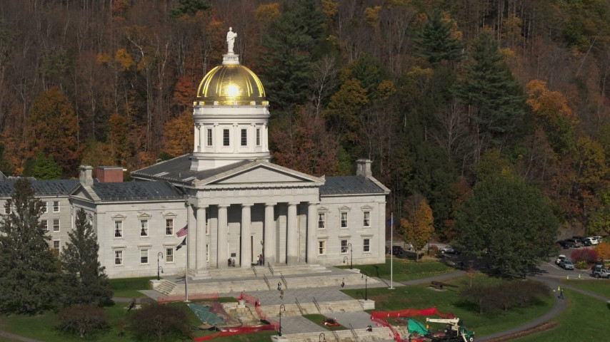 5.7K stock footage aerial video or orbiting the Vermont State House in Montpelier Aerial Stock Footage | DX0002_218_040