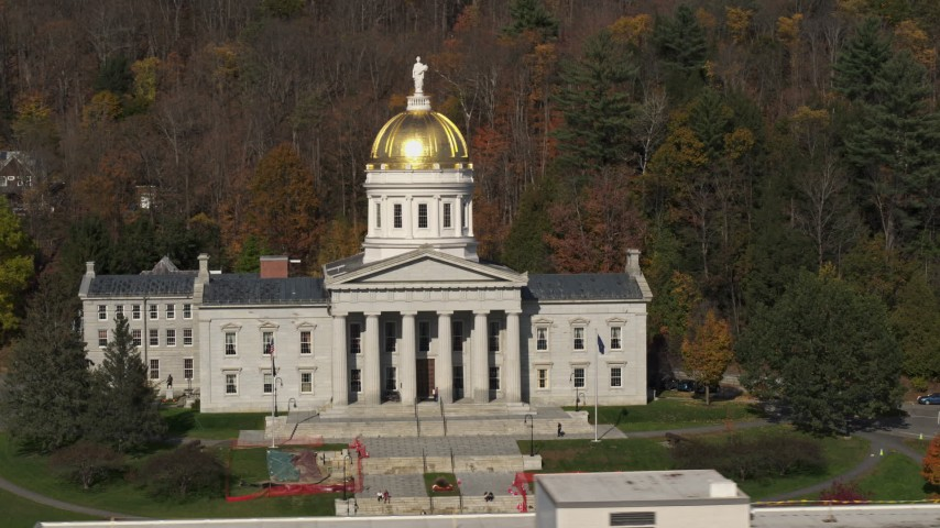 5.7K stock footage aerial video of slowly orbiting the Vermont State House in Montpelier Aerial Stock Footage | DX0002_218_041