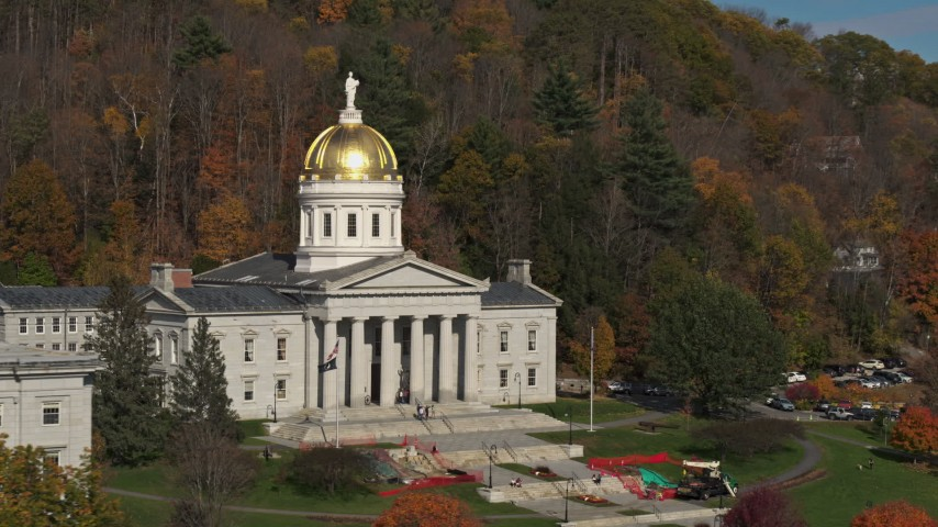 5.7K stock footage aerial video slow orbit of the front of the Vermont State House in Montpelier Aerial Stock Footage | DX0002_218_042