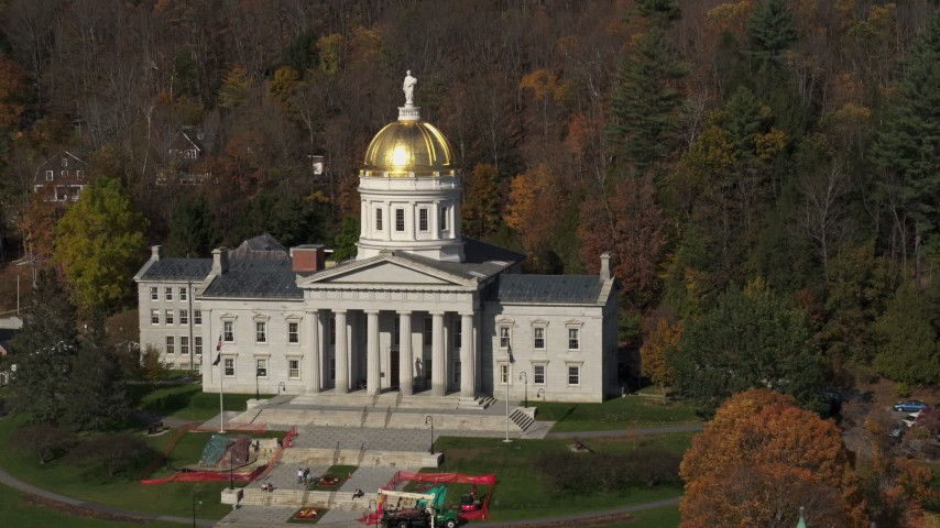 5.7K stock footage aerial video of the front of the Vermont State House in Montpelier Aerial Stock Footage | DX0002_218_043