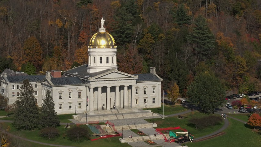 5.7K stock footage aerial video of circling the front of the Vermont State House in Montpelier Aerial Stock Footage | DX0002_218_044