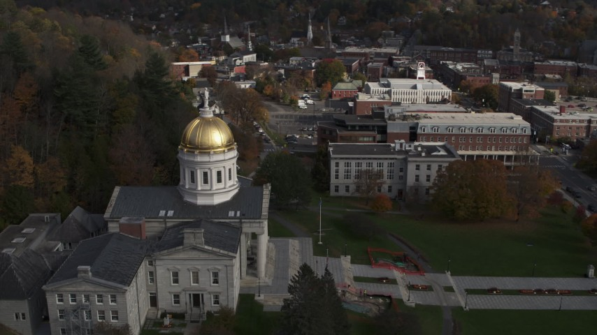 5.7K stock footage aerial video of orbiting the golden dome of the Vermont State House in Montpelier Aerial Stock Footage | DX0002_219_001