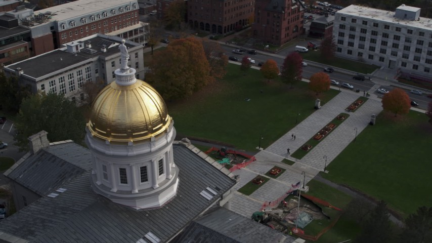 5.7K stock footage aerial video circling Vermont State House dome in Montpelier Aerial Stock Footage | DX0002_219_005