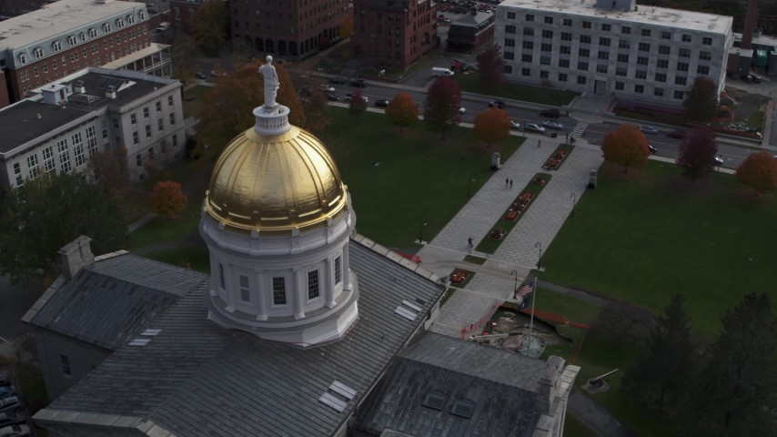 5.7K stock footage aerial video of flying away from the Vermont State House dome in Montpelier Aerial Stock Footage | DX0002_219_006