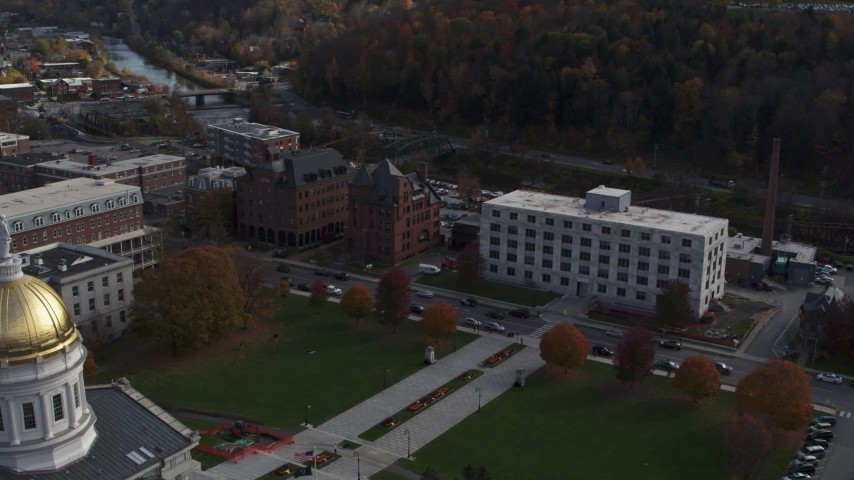 5.7K stock footage aerial video of orbiting a government office building in Montpelier, Vermont Aerial Stock Footage | DX0002_219_009