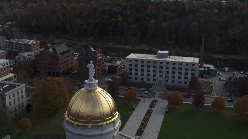 5.7K stock footage aerial video of orbiting a government office building seen from the capitol in Montpelier, Vermont Aerial Stock Footage | DX0002_219_010