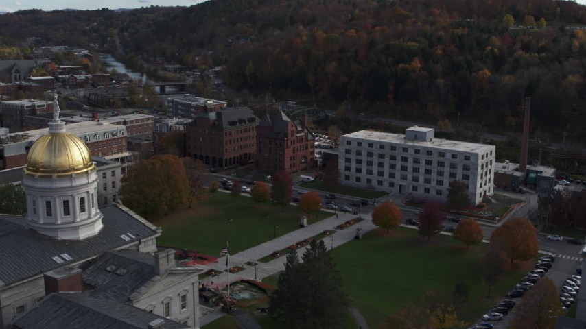 5.7K stock footage aerial video of flying away from government office building and the capitol in Montpelier, Vermont Aerial Stock Footage | DX0002_219_011