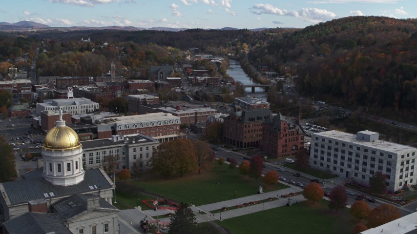 5.7K stock footage aerial video of government and brick office buildings near the river in Montpelier, Vermont Aerial Stock Footage | DX0002_219_012