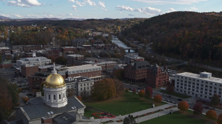 5.7K stock footage aerial video a view of government and brick buildings near the river, seen from capitol, Montpelier, Vermont Aerial Stock Footage | DX0002_219_015