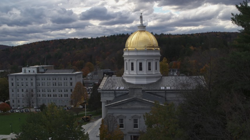5.7K stock footage aerial video descend while focused on the capitol dome, Montpelier, Vermont Aerial Stock Footage | DX0002_219_020