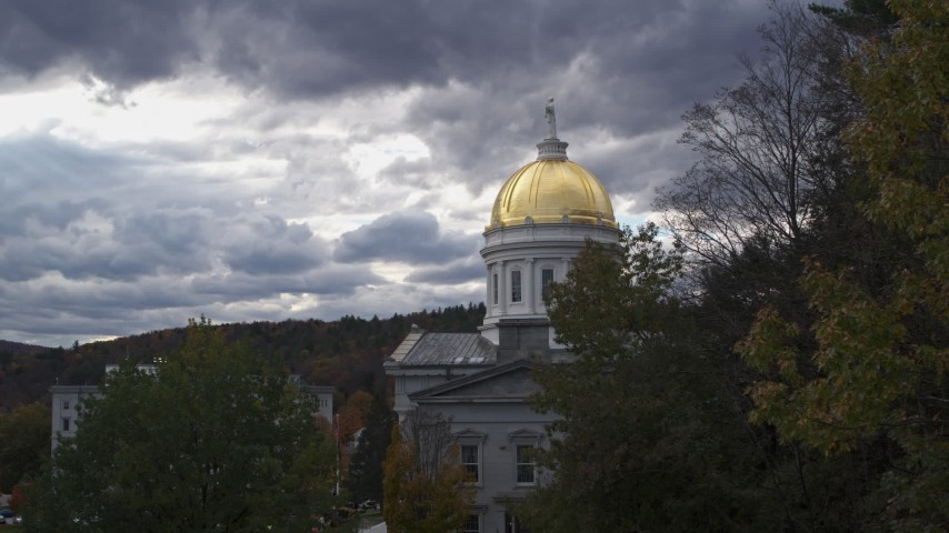 5.7K stock footage aerial video stationary view of the golden dome on the capitol building, Montpelier, Vermont Aerial Stock Footage | DX0002_219_021