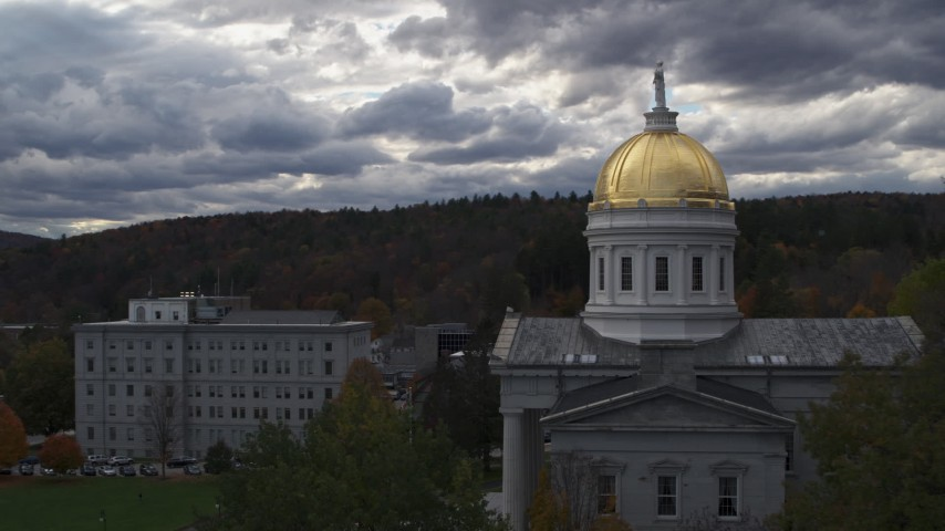 5.7K stock footage aerial video closely orbiting the golden dome on the capitol building, Montpelier, Vermont Aerial Stock Footage | DX0002_219_022