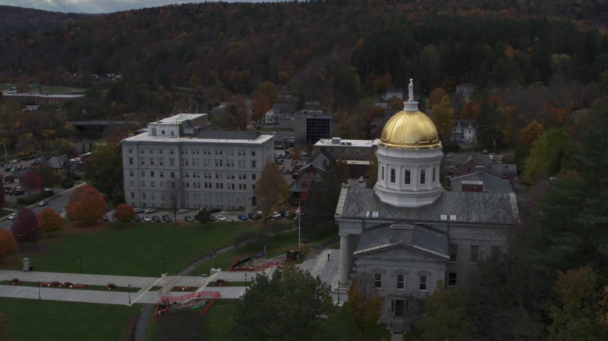 5.7K stock footage aerial video of approaching the golden dome of the capitol building, Montpelier, Vermont Aerial Stock Footage | DX0002_219_024
