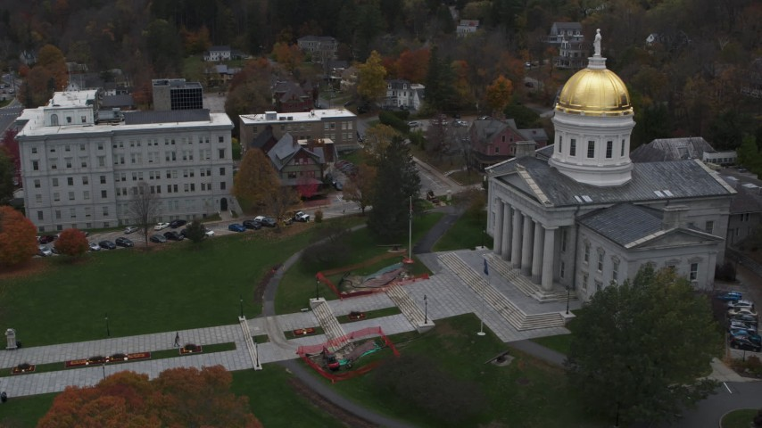 5.7K stock footage aerial video of approaching the front steps of the capitol building, Montpelier, Vermont Aerial Stock Footage | DX0002_219_025