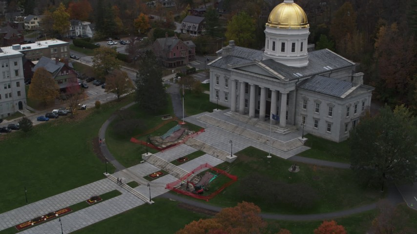 5.7K stock footage aerial video of the front steps of the capitol building, Montpelier, Vermont Aerial Stock Footage | DX0002_219_026