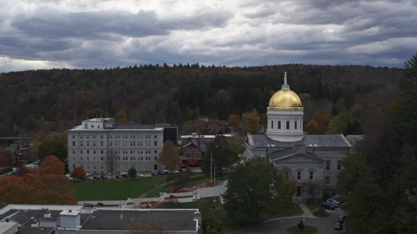 5.7K stock footage aerial video of following Court Street toward the capitol building, Montpelier, Vermont Aerial Stock Footage | DX0002_219_029